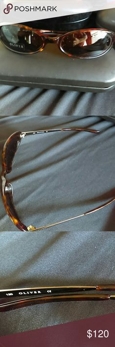 Oliver Peoples Tortoiseshell Sunglasses Authentic brown tortoiseshell with silver on rims.  Never worn. Oliver Peoples Accessories Glasses