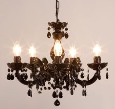 Lustre baroque avec pampilles 5 branches acrylique Venezia