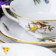 Place Setting Five Piece- Herend Rothschild Bird ROdesign. Herend fine china Dinner Sets, Place Settings, Dinner Plates, Fine China, Porcelain, Bird, Places, Wedding, Design
