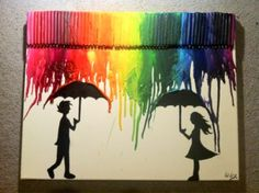 i think i saw the rainbow on another pic...where they melted crayons at the top. ..I'm interested in doing something like this :)