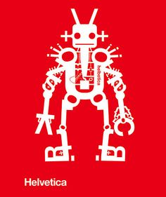 Helvetica-Robot. Font Bots by Jonathon Yule. More bots on the link.