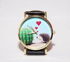 Wristwatches with cactus, watches hedgehog,  women's watches, men's watches