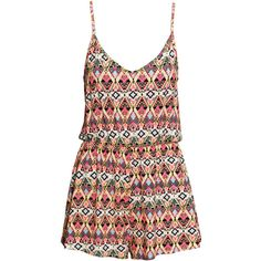 H&M Patterned playsuit ($11) ❤ liked on Polyvore featuring jumpsuits, rompers, dresses, jumpsuit, playsuits, vestidos, print jumpsuit, short romper, v-neck jersey and jump suit