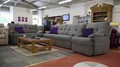 Montreal 3 Piece Suite in Grey Fabric With electric recliner :) £1875  These couches!!!