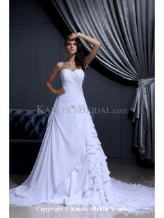 Chiffon Satin Sweetheart Chapel Train A-line Wedding Dress with Ruffle Beading