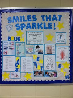 Dental Health Bulletin Board. The background paper is glittery tissue paper!