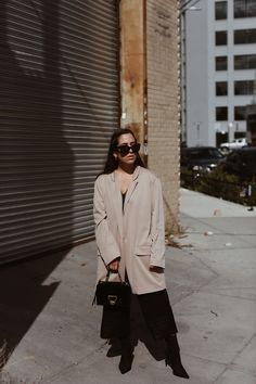 e7605f364b OUTFIT  In New York with Coccinelle Arlettis bag   Halston blazer