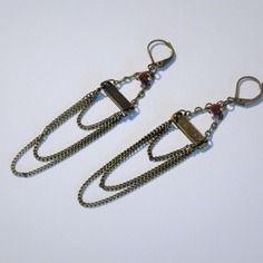 Boucles d'oreille pendantes à chaînes