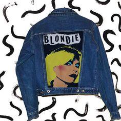 Blondie painted denim jacket от PurpleTearsGirlsShop на Etsy
