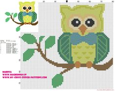 cross-stitch pattern owl on branch with bow tie