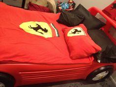 Car bed from redone with Ferrari symbols pillows are carbon fiber fabric Boy Car Room, Car Bed, Carbon Fiber, Man Cave, Baby Car Seats, Ferrari, Husband, Pillows, The Originals