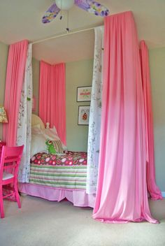 DIY canopy bed idea for girl's room.  I like #16 with the molding from #3