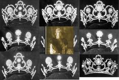 Queen Marghertia's Musy tiara is an incredibly versatile piece, which, as this compilation shows can be worn in approximately eight different ways, with various additional pieces. My thanks to whoever compiled this selection of images.