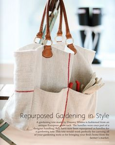 gardening tote made from grain sack. <3