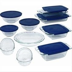 #10: Pyrex Easy Grab 19-Piece Glass Bakeware Set with Blue Lids.