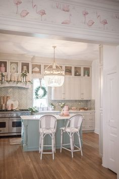 One Room Challenge Colourful Kitchen Reveal - The Leslie Style greenkitchen Beach Cottage Style, Beach Cottage Decor, Beach House, Cottage Kitchens, Home Kitchens, Shabby Chic Kitchen, Kitchen Decor, Kitchen Ideas, Basic Kitchen