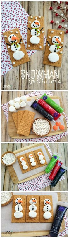 Snowman Grahams – Holiday Kids Food Craft on Fugal Coupon Living. Excellent classroom snack idea for a holiday party, snowman snack.