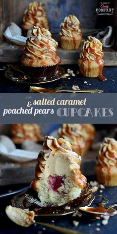 Delicious poached pear cupcakes with salted caramel Swiss meringue buttercream and salted caramel sauce drizzle: