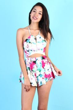 Floral Crop Top and Shorts Two Piece Romper Sets