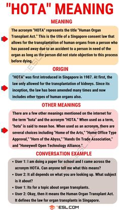 "The acronym ""HOTA"" is typically used for very specific reasons. It can also be used as a term, but that is unofficial. English Lessons, Learn English, Types Of Humans, Idioms And Proverbs, Organ Transplant, Trade Association, Conversation, Meant To Be, Acting"