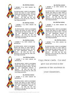 April is Autism Awareness Month - Here is a free printable from snrmag.com autismawar, awar card, printabl card