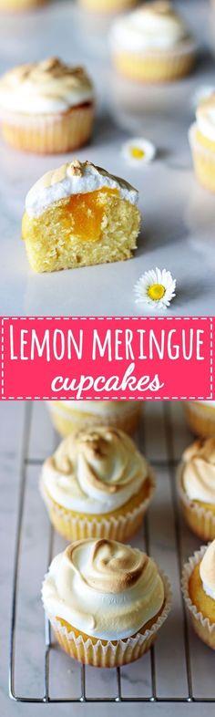 Lemon Meringue Cupcakes - light lemon cupcakes, filled with lemon curd and topped with meringue! | thekiwicountrygirl.com
