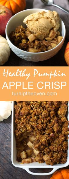 Pumpkin puree replaces half the butter in this easy, delicious Pumpkin Apple Crisp!