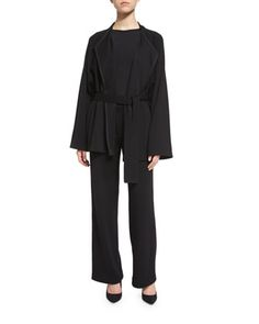 Belted+Wool+Felt+Jacket,+Fitted+Slit-Cuff+Stretch+Jersey+Tee+&+Wool+Wide-Leg+Pants+by+Helmut+Lang+at+Bergdorf+Goodman.