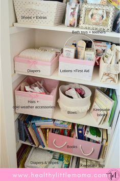 Nursery organization ideas for the nesting mom. How to maximize storage in a small space using your changing table, dresser, and closet shelves Nursery Closet Organization, Organization Hacks, Organizar Closet, Girl Nursery, Nursery Ideas, Project Nursery, Nursery Decor, Rustic Nursery, Nursery Inspiration