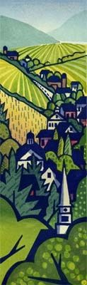 """Lynita Shimizu  Village  Village was printed on Yamaguchi Hosho from ten blocks (eleven impressions) of basswood plywood. Color graduation was done on five blocks.  Actual Size: 4"""" x 13"""" Edition of: 55"""