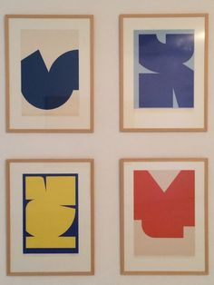 Jo Delahaut - Sérigraphie no 11 bleu-blanc, 1968 - Sérigraphie no 8 bleu, 1968 - Sérigraphie no 6 jaune-bleu, 1968 - Sérigraphie no 7 orange-blanc, 1969 - IdeelArt #IdeelWorld #Abstraction