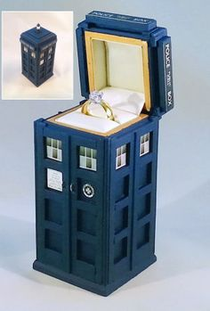 Propose to the perfect person with the perfect ring box. The TARDIS ring box is is expertly hand crafted from solid wood and the interior is lined with a The Tardis, Tardis Door, Tardis Art, Tardis Drawing, Tardis Wallpaper, Doctor Who Jewelry, Atelier Creation, Doctor Who Wedding, Doctor Who Merchandise