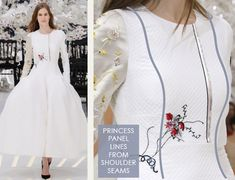 Glossary: Princess Panel Lines | The Cutting Class. Christian Dior, Haute Couture, AW14, Paris. Princess seam lines that start at the shoulder line.