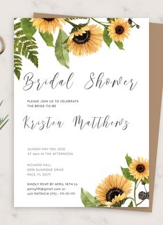 Sunflower Bridal Shower Invitation template helps you complement your wedding stationery and create perfect invitations for your pre-wedding celebration guests and host a memorable bridal shower party Enjoy full customization because this invitation template is 100% editable You can customize the wording and design to your own needs and preferences via a FREE online editor that doesn't require any coding or designer skills Diy Wedding Invitations Templates, Sunflower Wedding Invitations, Watercolor Wedding Invitations, Wedding Invitation Templates, Wedding Stationery, Invitation Ideas, Simple Bridal Shower, Bridal Shower Party, Bridal Shower Rustic