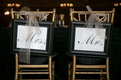 Bride and Groom Mr and Mrs Hanging Chair Signs on Gold Chiavari Chairs
