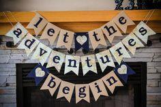 'let the adventures begin'    wedding/bridal shower/baby shower banner    etsy    banner babble    $18