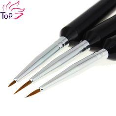 Top nail 3 unids/lote pen pintura cepillos para uñas bricolaje Cepillo de uñas de Arte UV GEL Polaco Manicura Herramientas de Dibujo Bolígrafos JH293