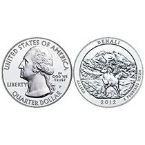 The coin featuring an image of Denali National Park and Preserve is the fifth coin released in the 2012 America the Beautiful Five-Ounce Silver Uncirculated Coin Series. These coins are legal tender and have a nominal face value of 25 cents. Their fineness and weight are edge-incused on the coins. SOLD OUT