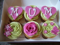Mothers Day cupcakes - FMM Tappit Funky Alphabet Cutters