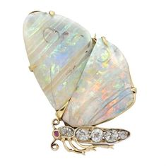 Victorian Opal and Diamond Butterfly Brooch