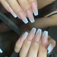 White Tip Acrylic Nails, Gold Gel Nails, Glow Nails, Aycrlic Nails, Summer Acrylic Nails, Fire Nails, Nails Only, Pin On, Luxury Nails