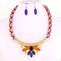 Tribal Rope Necklace/Earrings Set