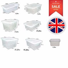 Plastic Storage Boxes Large Clear Box Lidded Stackable Chest
