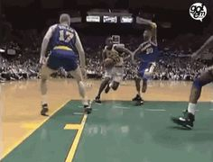 Shawn Kemp Gave a  baller the Facials gifs gif sports gifs basketball nba athlete hoops shawn kemp dunks amazing athlete flare