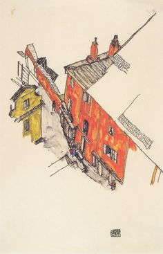 Egon Schiele  Old gabled houses in the castle of Cesky Krumlov    his figures were fine, his buildings are untouchable.