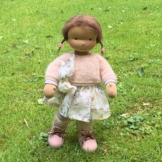 Isla - a 16''/42 cm tall Handmade Waldorf Doll | > Available Dolls | MonPilou Organic Cleaning Products, Waldorf Dolls, Sheep, Doll Clothes, Teddy Bear, Handmade, Baby Doll Clothes, Craft, Baby Dresses