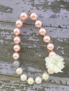 Girls chunky, pink, rhinestone, bubblegum necklace, toddler, bead necklace baby, crystal, bubble, gum, pearl, white, kids, chiffon flower