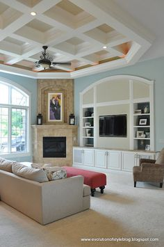 Evolution of Style: Aegean Teal Built-in Bookcases - corner fireplace and builtin