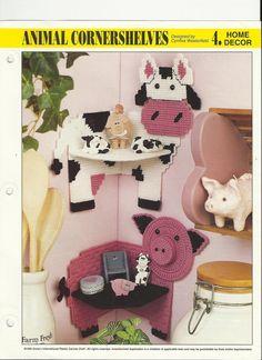 Plastic canvas pig and cow cornershelves