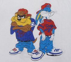 Vintage 90's Taz and Bugs Bunny Kris Kross hip-hop rap looney tunes t-shirt XL